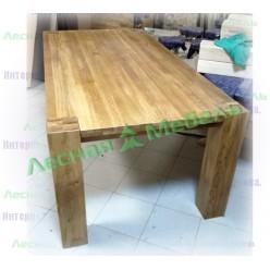 """Стол обеденный """"Премиум"""" (сечение ноги 140х140;столешница 40 мм; фальшпанель)."""