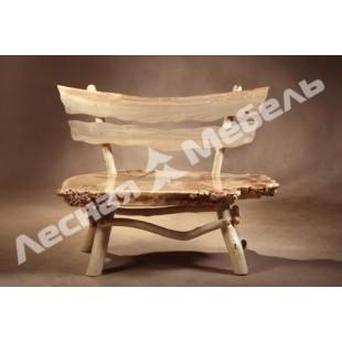 """Скамья со спинкой Горный тополь. Дизайнерская скамья и другая мебель из тополя в магазине """"лесная мебель"""""""