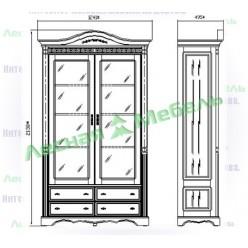 Шкаф книжный Паола БМ-2128